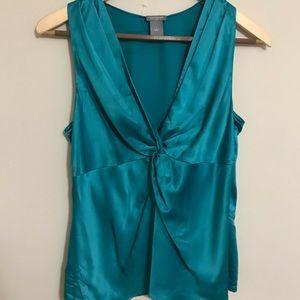 Ann Taylor Emerald Teal Twist Tank blouse Shell 6